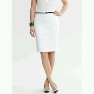 Banana Republic Petites Stretch Sateen Pencil Skirt 12P White Workwear Casual or Dress