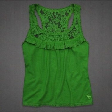 Abercrombie & Fitch Lace Trim Ruffle Racer Back Knit Top S