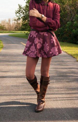 Abercrombie & Fitch BURGUNDY FLORAL Flirty Skater Skirt M