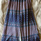 Abercrombie & FItch Flirty Fit Geometric Floral MIdi Skirt XS Blue Red Whites