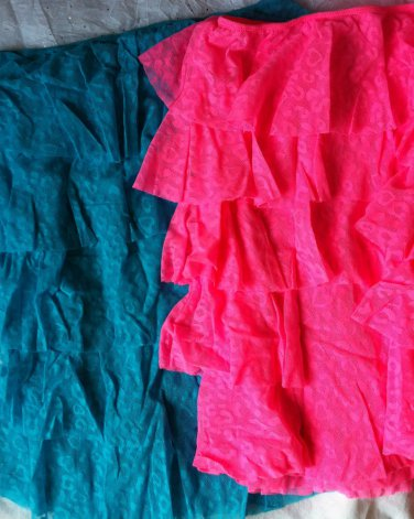 Victoria's Secret Beach Sexy Turquoise Hot Pink Lace Tiered Ruffle Dress Cover