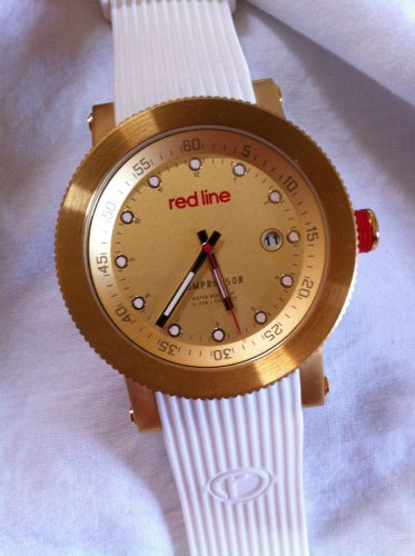 Red Line Compressor Chronograph Rose Dial White Textured Silicone