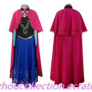 Frozen Arendelle Princess Anna Cosplay Costume with Cape(FREE SHIPPING)
