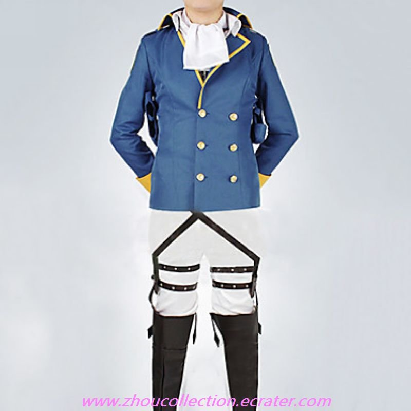 Attack on Titan Rivaille Levi Blue Uniform Cloth Cosplay Suit With 2 Badges(FREE SHIPPING)