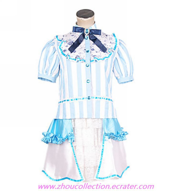 Vocaloid PROJECT DIVA Blue Stripes Cosplay Costume(FREE SHIPPING)