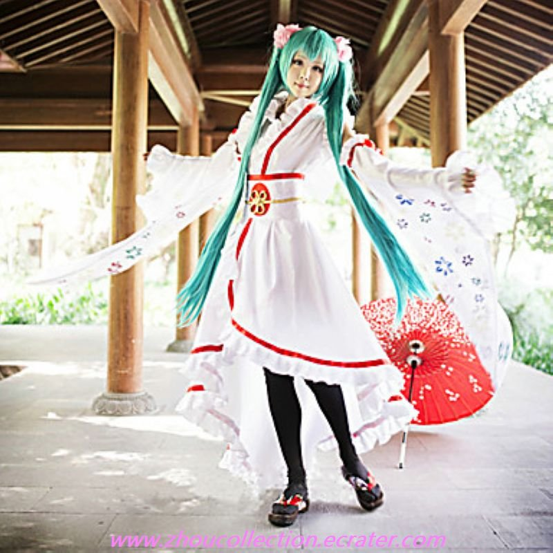 Vocaloid Hatsune Miku White Polyester Cosplay Costume(FREE SHIPPING)