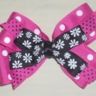 Hot Pink and Black Boutique Bow