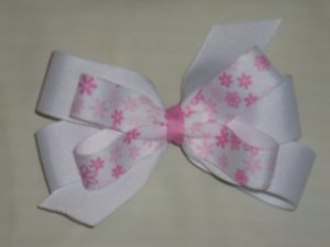 White with Pink Flowers Wendy Bow