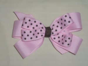 Light Pink  with Brown Dots Wendy Bow