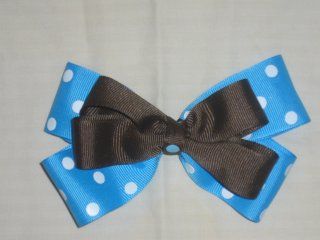 Bright Blue and Brown Boutique Bow