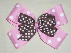 Pink Dot with Brown Dot Boutique Bow