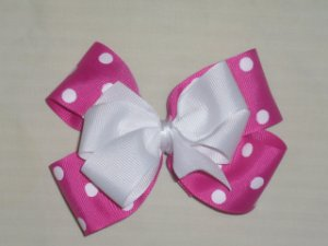 Hot Pink with White Boutique Bow