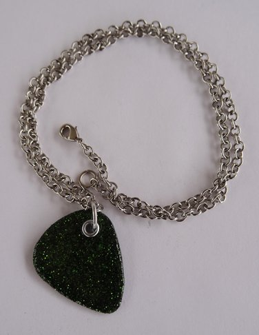 Sparkling Forest Green - Record Guitar Pick Necklace - Med Chain