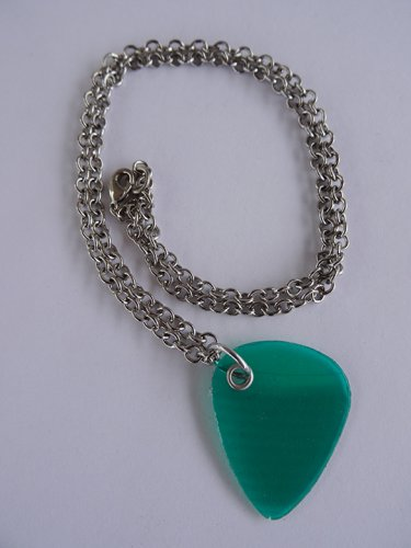 Green Record Guitar Pick Necklace - Med Chain
