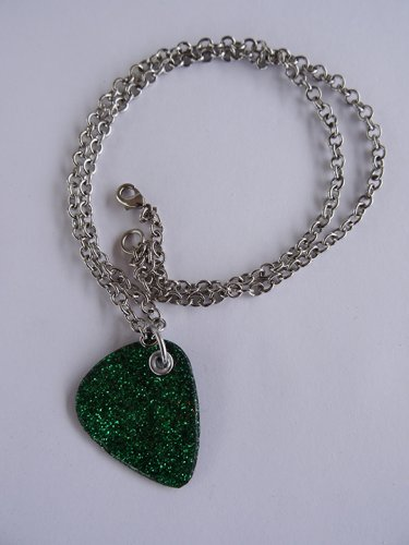 Sparkling Green Record Guitar Pick Necklace - Med Chain