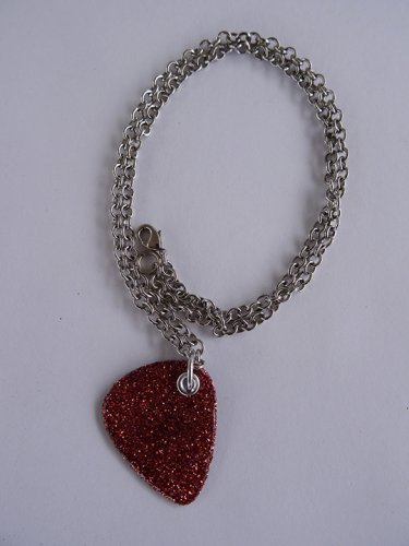 Sparkling Pink Record Guitar Pick Necklace - Med Chain