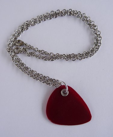 Red Record Guitar Pick Necklace - Med Chain
