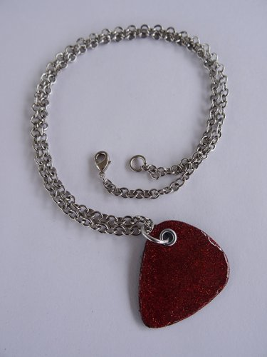 Sparkling Red/Orange Record Guitar Pick Necklace - Med Chain