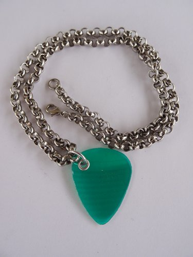 Green Record Guitar Pick Necklace - Thick Chain