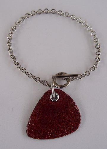 Sparkling Red Record Guitar Pick Bracelet - Thin Chain