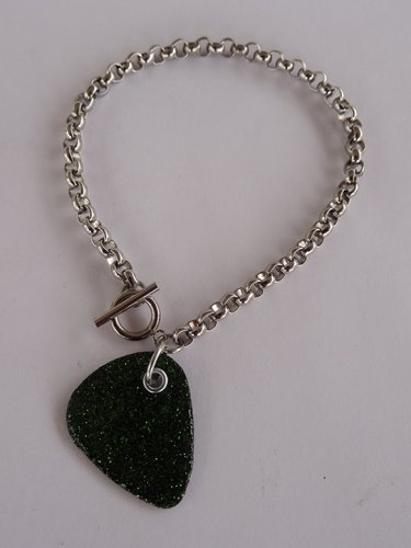 Sparkling Forest Green Record Guitar Pick Bracelet - Thick Chain