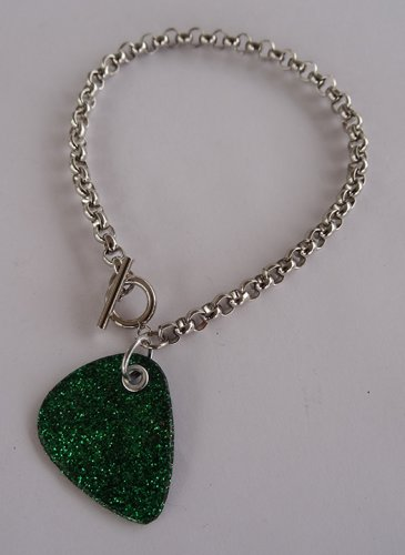 Sparkling Green Record Guitar Pick Bracelet - Thick Chain