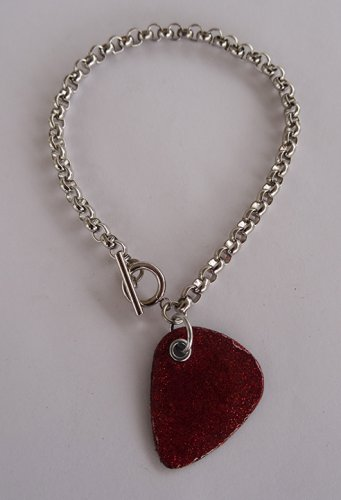 Sparkling Red/Orange Record Guitar Pick Bracelet - Thick Chain