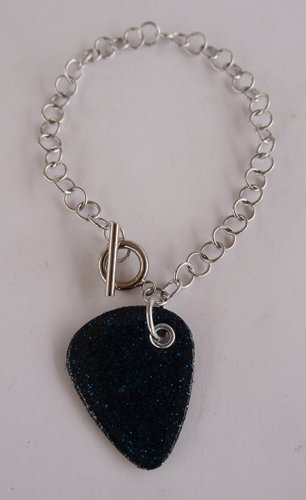 Sparkling Blue Record Guitar Pick Bracelet - Large, Small Guage Chain