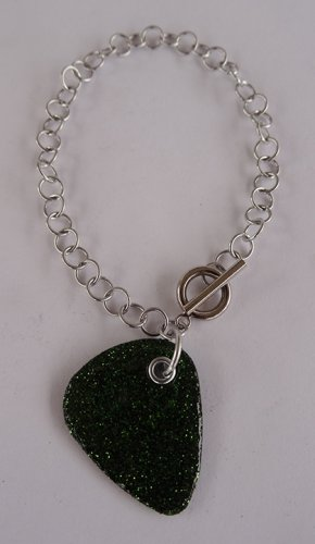Sparkling Forest Green Record Guitar Pick Bracelet - Large, Small Guage Chain