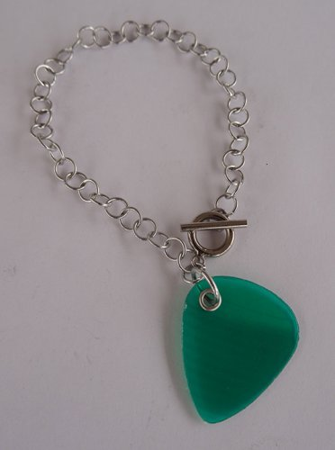 Green Record Guitar Pick Bracelet - Large, Small Guage Chain