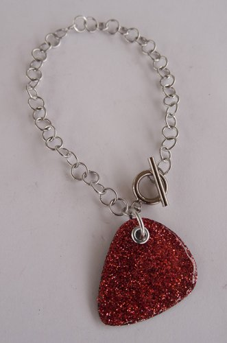 Sparkling Pink Record Guitar Pick Bracelet - Large, Small Guage Chain