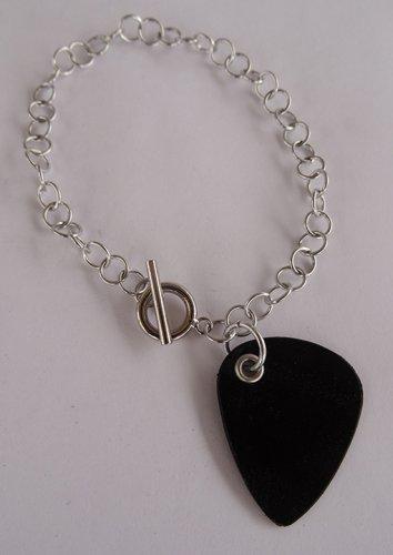 Record Guitar Pick Bracelet - Large, Small Guage Chain
