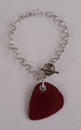 Sparkling Red Record Guitar Pick Bracelet - Large, Small Guage Chain
