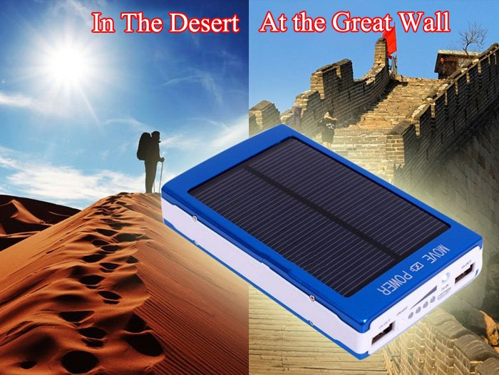 free shipping 30000mAh Double USB Outputs Solar Battery Charger with LED Light
