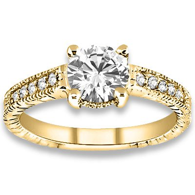 0.33 ctw 14k Yellow Gold Natural I-J Color, VS - SI Clarity, Accent Diamonds Engagement Ring