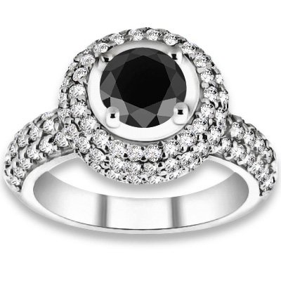 1.56 ctw 14k WG AAA Black, Accent G-H Color, I1 Clarity Diamonds Engagement Rings