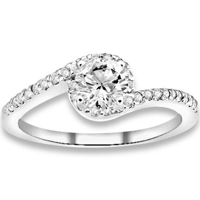 0.66 ctw 14k WG Natural I-J Color, VS - SI Clarity, Accent Diamonds Engagement Rings