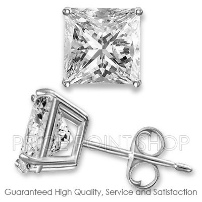 2.00 ctw White CZ Simulated Stone Princess Cut Sterling Silver Studs Earrings 6x6mm