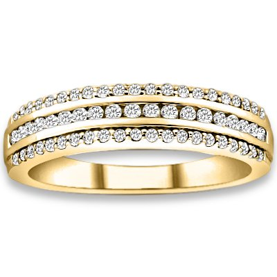 0.40 ctw 14k Yellow Gold I-J Color VS-SI Clarity Natural Round Diamonds Wedding Bands