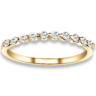 0.20 ctw 14k Yellow Gold H-I Color SI2-SI3 Clarity Natural Round Diamond Wedding Bands