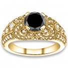 1.65 ctw 14k YG AAA Black, Accent G-H Color, I1 Clarity Diamonds Engagement Rings