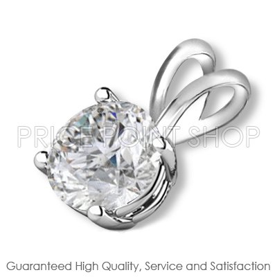 0.50 ct Solid White Gold 4 Prong Basket H-I Color SI Clarity Certified Solitaire Diamonds Pendants