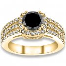 0.92 ctw 14k YG AAA Black, Accent G-H Color, I1 Clarity Diamonds Engagement Rings