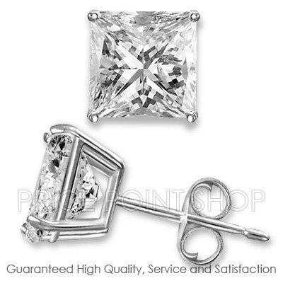 0.50 ctw Princess Cut White CZ Sterling Silver White Rhodium Studs Earrings 4x4 mm