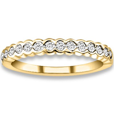 0.38 ctw 14k Yellow Gold G-H Color I1 Clarity Natural Round Diamonds Wedding Bands