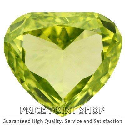 0.18 ctw, 4.37 x 3.85 mm, Lime Yellow, VVS1 Clarity, Heart Shape Loose Diamonds