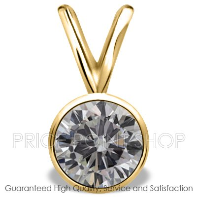0.75 ctw Yellow Gold Bezel Setting G-H Color I-1 Clarity Certified Solitaire Diamond Pendants