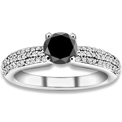 0.87 ctw 14k WG AAA Black, Accent G-H Color, I1 Clarity Diamonds Engagement Rings