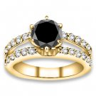 1.46 ctw 14k YG A Black, Accent I-J Color, VS - SI Clarity Round Diamonds Engagement Rings