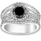 3.14 ctw 14k WG A Black, Accent I-J Color, VS - SI Clarity Round Diamonds Engagement Rings